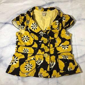 Anthropologie Elevenses Yellow Ponceau Blazer